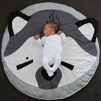 Kawaii Animal imprimir Koala Panda conejo Fox algodón redondo alfombra sueño reparador bebé alfombras actividad decoración de la habitación