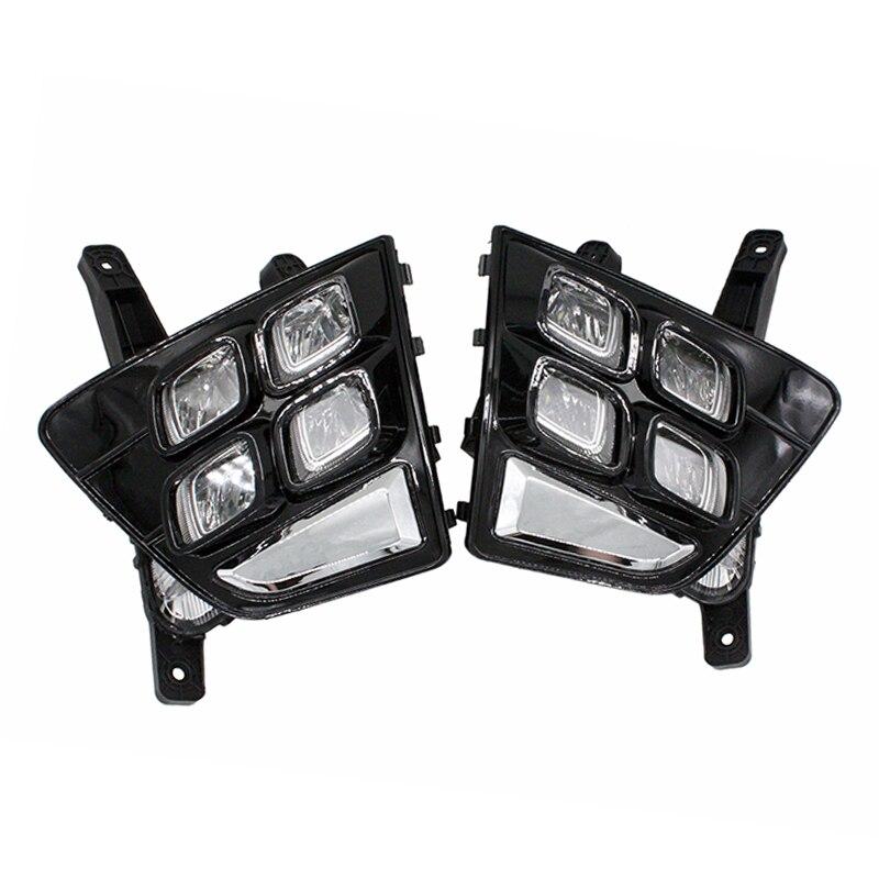 SUNKIA Car Accessories Waterproof ABS 12V LED Daytime Running Light Car Styling DRL Fog Lamp for Hyundai IX25 2014-2016 стоимость