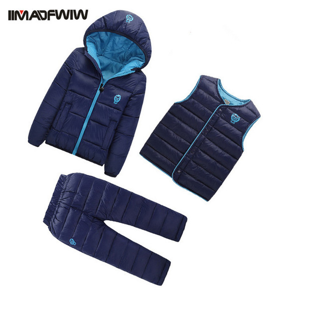 3 Pcs/ set 2016 Winter Children Down Cotton Set Kids Girls Boys Snowsuit Hooded Warm Cotton-padded Coat+Vest+Pants 3PCS Suits