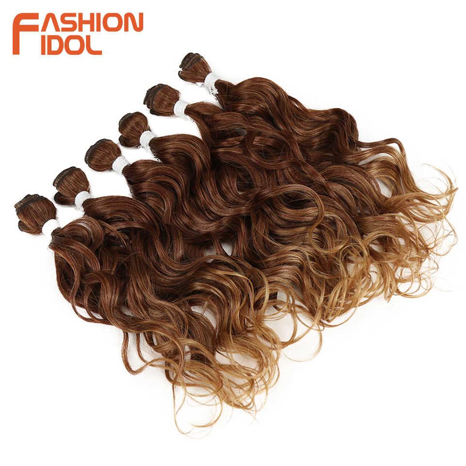 Moda IDOL głęboka fala wiązki włosów splot zestawy Ombre brązowy 6 sztuk 16-20 Cal 250g syntetyczne doczepy do włosów darmowa wysyłka