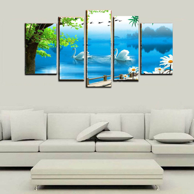 ween 5 panel modern wall painting swan lake landscape canvas art
