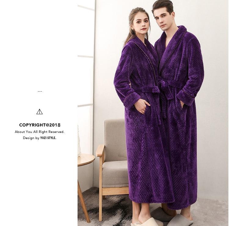 Winter Male Femlae Bathrobe Flannel Thick Robe Long Sleeve Soft Warm Bathrobe Men Women Home Wear Gown Robes Dressing Gown     34