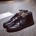 2016 Ventas de alta Tops Zapatos de Diseño atan para arriba Los Hombres de Alta Calidad Cráneo Zapatos de Hip Hop Zapatos Casuales Para Hombre de Lujo Famosa Marca de Cuero