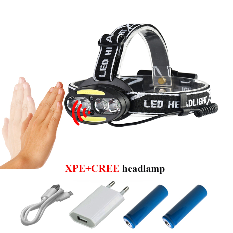 IR sensor led headlamp rechargeable usb led headlight 4 cree xml t6 2 cob headtorch flashlight torch head light 18650 head lamp стоимость