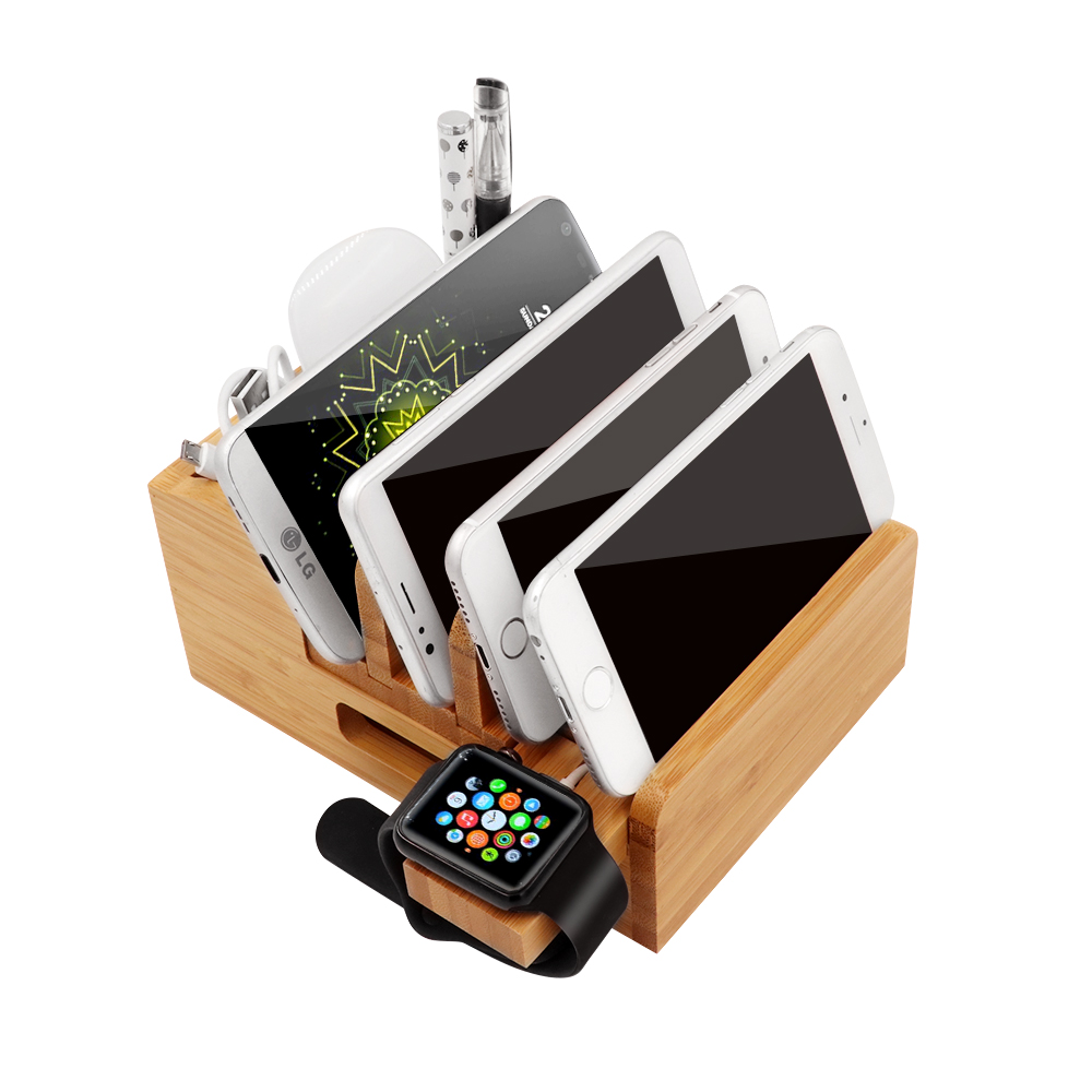 Image 2 - iCozzier Bamboo Charging Station Dock Desktop Organizer Holder for iPad,iWatch Stand Cord Organizer MultiDevices Docking Station-in Home Office Storage from Home & Garden