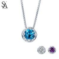 SA SILVERAGE Genuine 925 Sterling Silver Fine Crown Birthstone Nature Blue Topaz Amethyst Pendant Necklace Jewelry