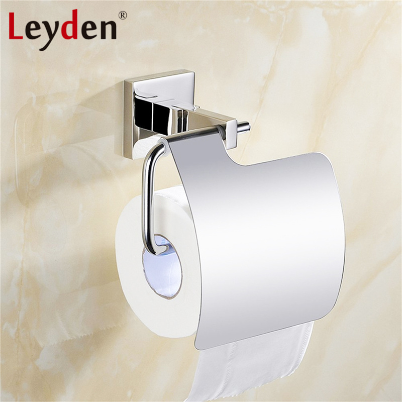 Leyden Stainless Steel Toilet Paper Holder Paper Roll Holder with Cover Wall Mounted Toilet Paper Roller Bathroom Accessories everso wall mounted toilet paper holder with shelf stainless steel toilet roll paper holder tissue holder bathroom accessories