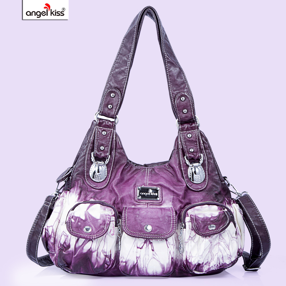 Angel Barcelo Womens Shoulder Bag Purses and Handbags for Women Ladies Bag Middle Size Roomy Multiple Pockets Bags Grey