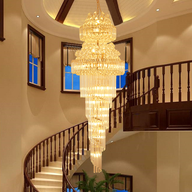 LED Modern Crystal Chandeliers Lighting Fixture American Long Golden K9 Crystal Chandelier Home Loft Stair Way Indoor Lights