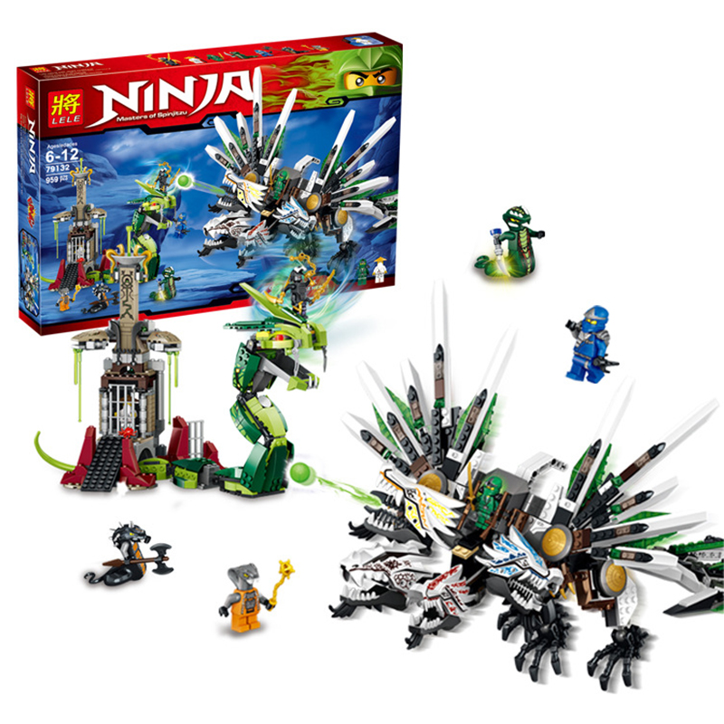 959Pcs Ninjago 9450 LELE 79132 Blocks Ninjago Figure Epic Dragon Battle Toys For Children Building Blocks Set Compatible Legoe 0367 sluban 678pcs city series international airport model building blocks enlighten figure toys for children compatible legoe