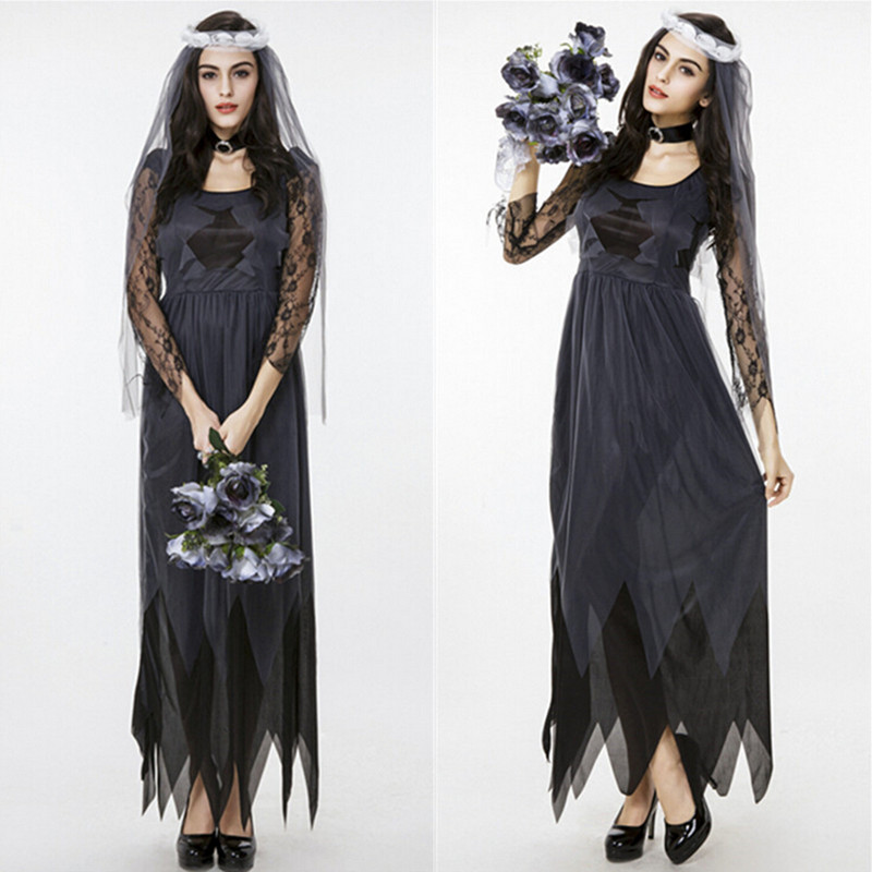 Aliexpress Buy Wedding Dress Halloween Costume Bride Lace Long Sleeve Tulle Black Cosplay