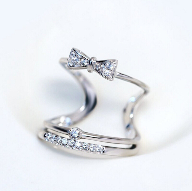 rings gold adjustable ring bow rhinestone