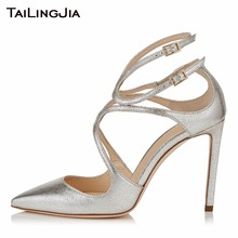 Pointed Toe Woman Shoes Cross Tie Shiny Silvery High Heel Women Summer Spring Handmade Quality Party Wedding Pumps