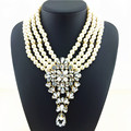 Glam Simulated Pearl Statement Necklace Noble Crystal Cluster Necklaces & Pendants Women Party Statement Necklace