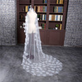 Hot Sale 2017 New White Ivory Veu de noiva Wedding Accessories One-Layer Cut Edge With Flowers Wedding Veil Bridal veils