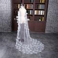 Hot Sale 2017 New White Ivory Veu de noiva Wedding Accessories One-Layer Cut Edge With Flowers Wedding Veil Bridal veils