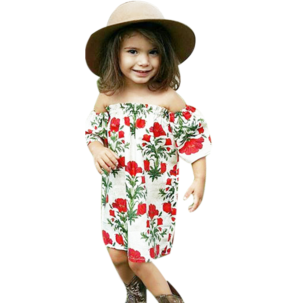 2017 Summer Off Shoulder Chidren Girls Dress Flower Tree Baby Princess Dress Kids Toddler Fashion Girls Clothes