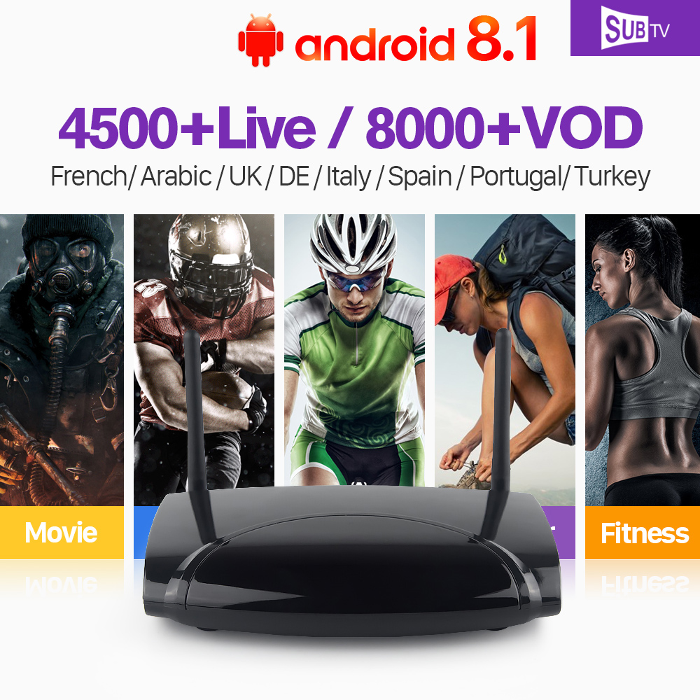 Iptv French 4K Smart TV Box RK3229 Android 8.1 1 Year SUBTV Code IPTV Europe France Arabic Belgium Dutch Italia IPTV Top Box eachlink ix88 android 5 1 1 rk3229 tv box
