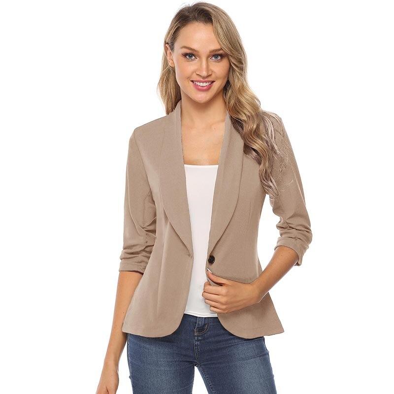 Image 5 - iClosam Women Classic Black Blazer Elegant Solid Color Slim  Jacket Suit 2019 New Fashion Long Sleeve Office Ladies BlazerBlazers