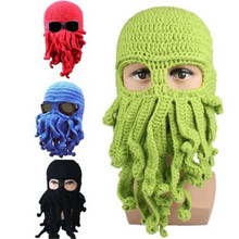 Handmade crochet Octopus Hat Squid Tentacle Ski Mask Wool Knit Cosplay Winter funny costume Beanie