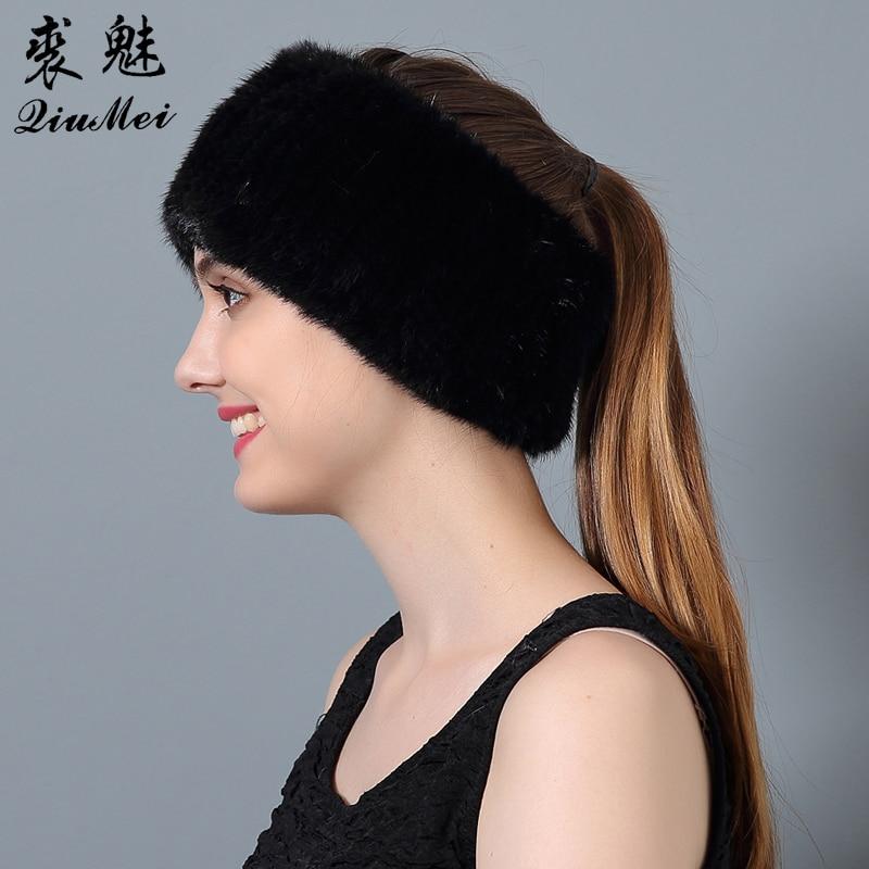 QiuMei Πλεκτομηχανές Mink Γούνινα διπλής χρήσης κασκόλ κασκόλ κασκόλ Πραγματική γούνα θηλυκό χειμώνας Γνήσια γούνινα καπέλα Beanies 2018 Νεότερο