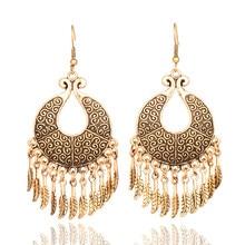 Złoty kolor srebrny indie etniczne Boho dynda spadek Tassel kolczyki dla kobiet kobieta 2018 kolczyki biżuteria wisząca akcesoria