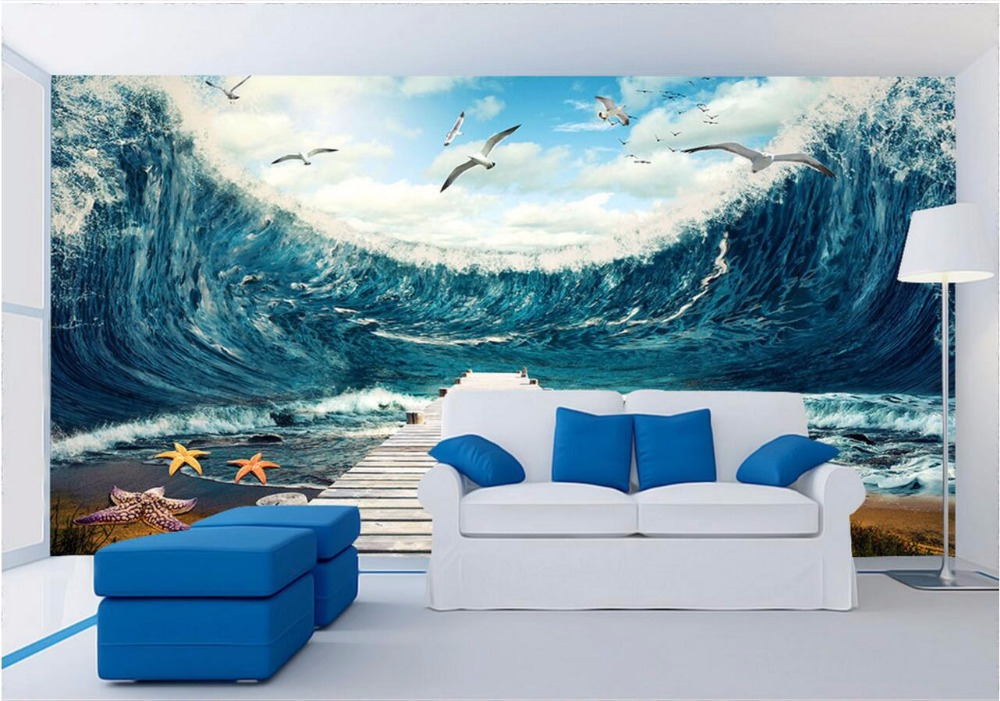 3d room wallpaper custom mural sea waves the seagull decoration painting home improvement 3d wall murals wallpaper for walls 3 d