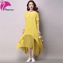 New Brand 2016 Pregnant Women Long Dress Cotton Linen Solid Candy Color Summer Loose Ruffles Dresses