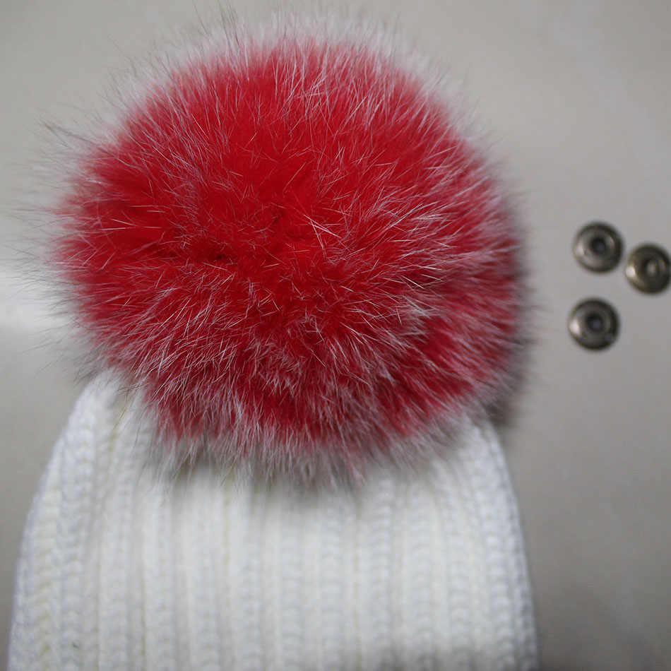 DIY 14-15CM Big Echt Vossenbont Pompons Natuurlijke Bont Pompom Pluizige Pompom Bal Bont Pom Poms voor gebreide Hoeden Caps mutsen sleutelhanger