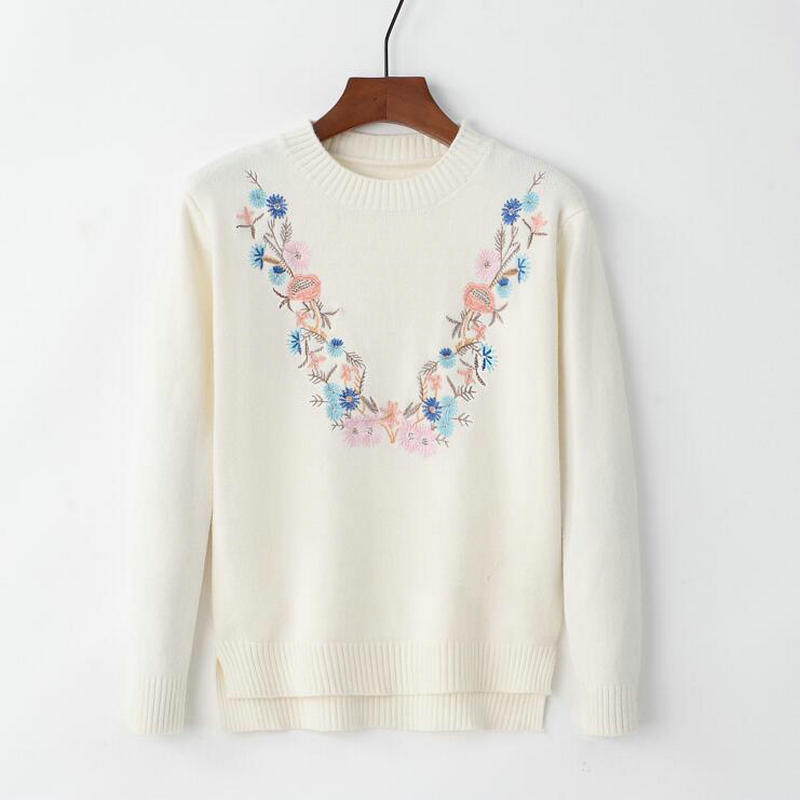 18 Pull Femme Women Floral Embroidery Sweater O-neck Long Sleeves Knit Jumper Jerseys 9 Colors Soft Pullover 3