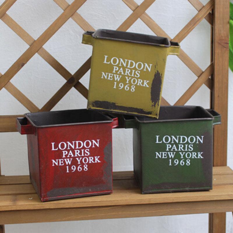 square vintage metal flower pots planters macetas saksi. Black Bedroom Furniture Sets. Home Design Ideas