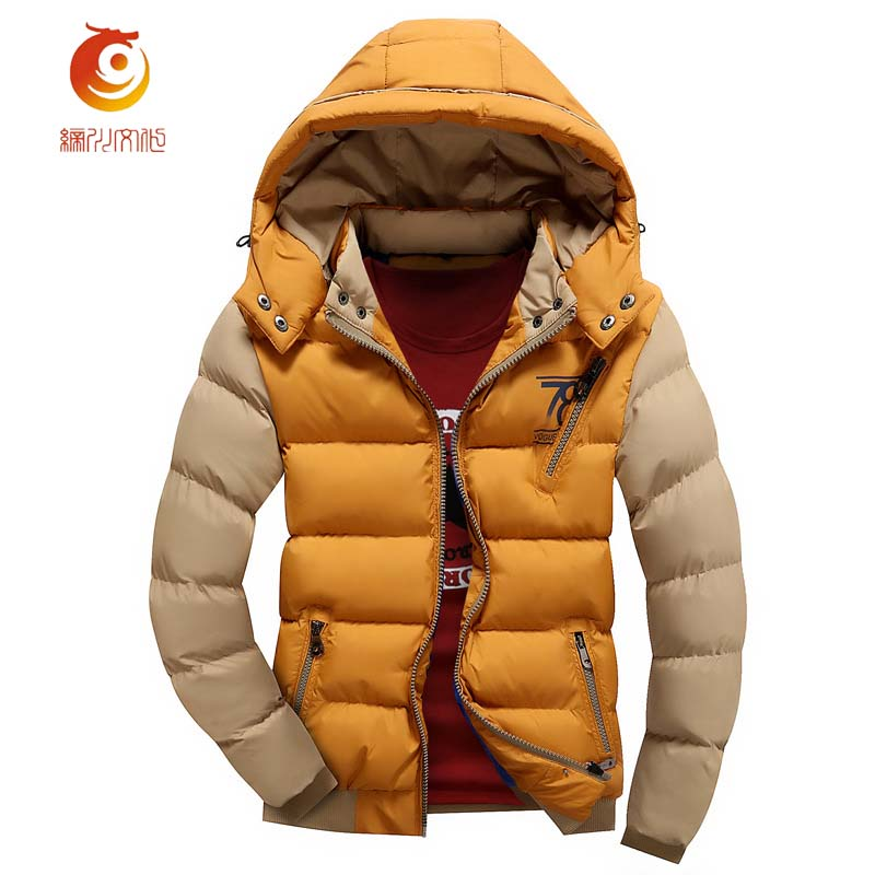 Men's Parkas Thick Hooded Coats Men Warm European Style Casual Stitching Color Jackets Male Outerwear Thickening Jacket Size 3XL new european men winter coats warm thick hooded coats pure color men coats for free shipping