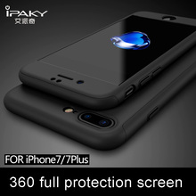 iPaky brand case for iphone 7 cover Tempered Glass Screen Protector Ultra Thin 360 Full Body