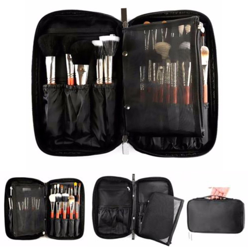 Professional Makeup Brush Bag Organizer Pouch Pocket Holder Kit Practical Cosmetic Tool Case audio technica ath m50x mg