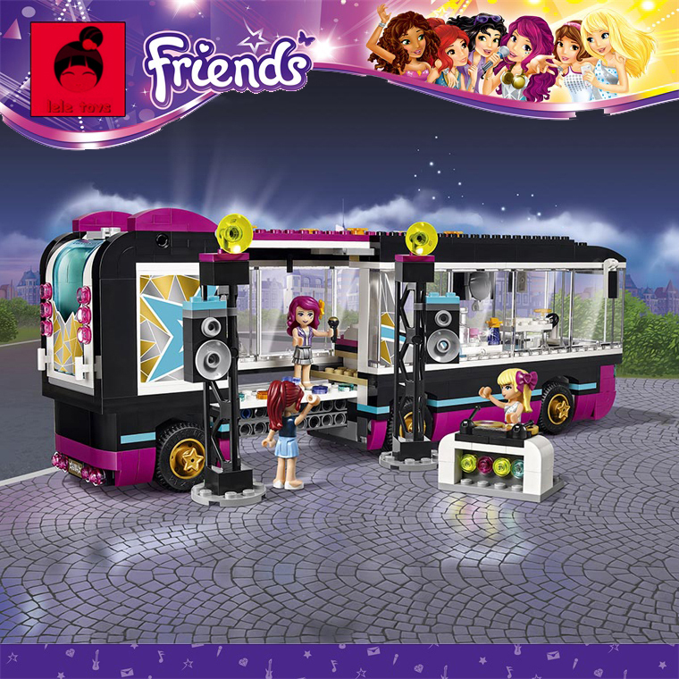 New Building Blocks Compatible with Friends Pop Star Tour Bus With Action Toys Figure Brinquedos Learning Education Toys gonlei 10407 friends pop star tour bus building blocks sets bricks toys girl game house gift compatible with