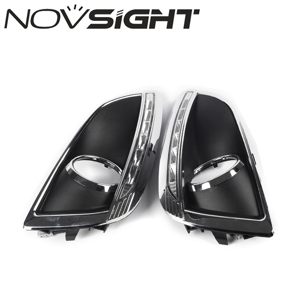NOVSIGHT Auto External Car LED Lights DRL Daytime Running Lights Fog Lamps White For Hyundai IX35 2010-2013 Free Shipping