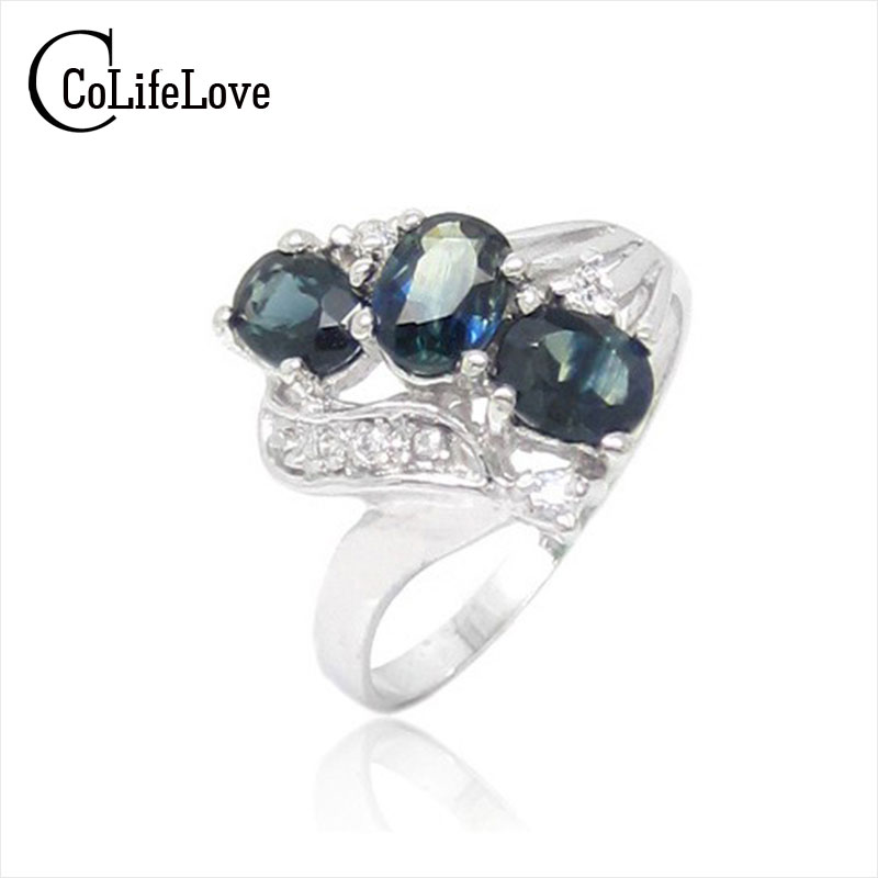 Classic natural sapphire silver Ring solid 925 silver ...