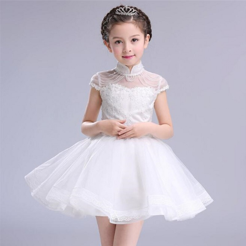 White Princess Dress Costumes for Kids Clothes 2017 Brand Summer Girls Dresses for Party Wedding Lace High Collar Children Dress new girls dress brand summer clothes ice cream print costumes sleeveless kids clothing cute children vest dress princess dress
