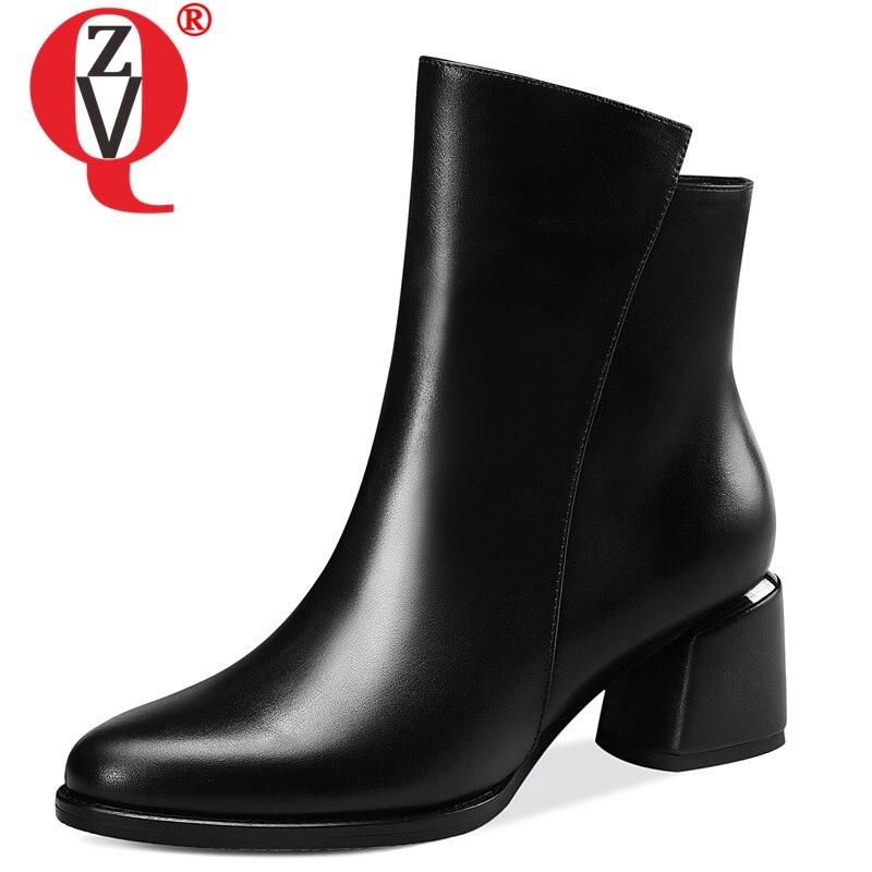 ZVQ รองเท้าผู้หญิง 2019 ใหม่ล่าสุดแฟชั่นคุณภาพสูงของแท้หนังรอบ toe สแควร์ส้นซิปสีดำข้อเท้า-ใน รองเท้าบูทหุ้มข้อ จาก รองเท้า บน   1