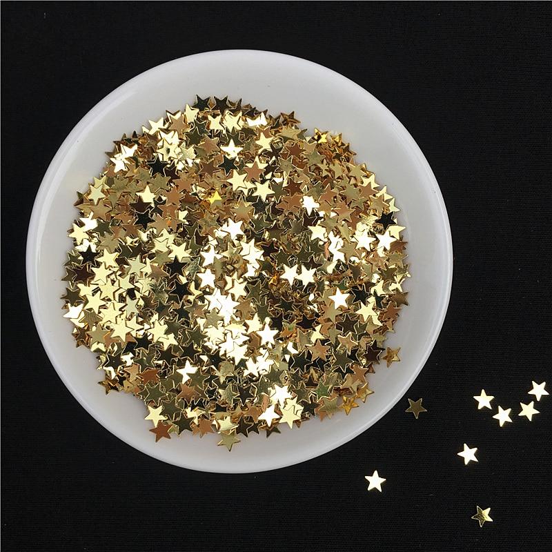 10 г/упак. светлое золото ногтей Блестки 3 мм 4 мм звезда Форма пайетками для ногтей Красота, леди маникюр, свадебные украшения конфетти