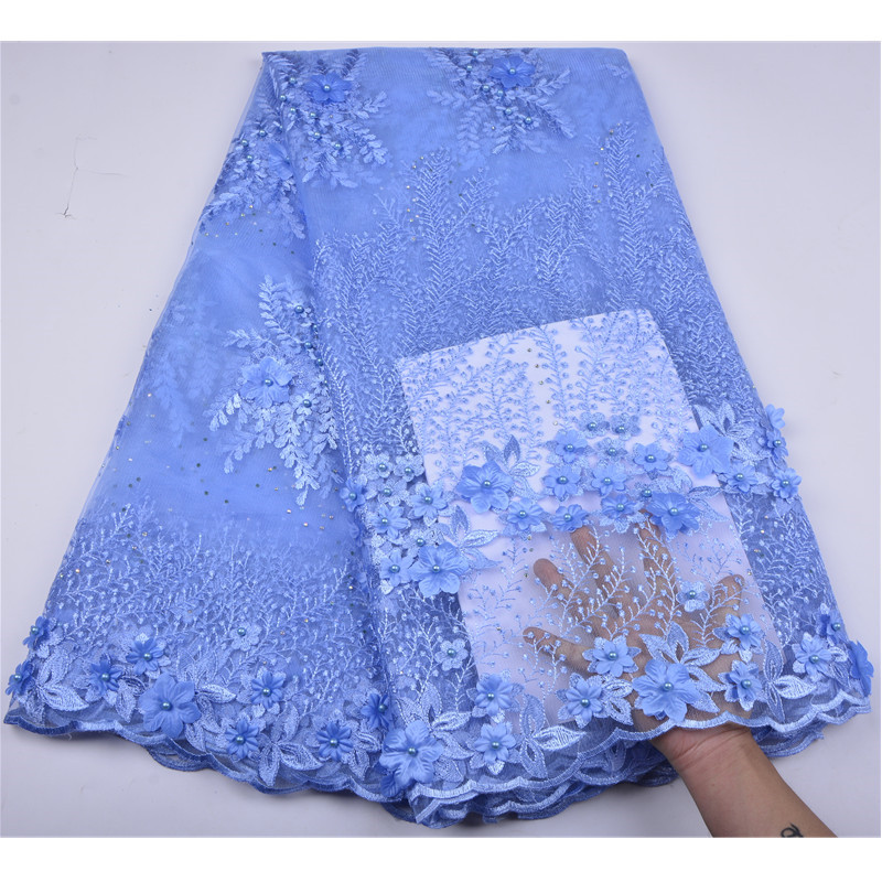 Sky Blue French Lace Fabric 3D Flowers Embroidered African Tulle Lace Fabric With Beads African Lace