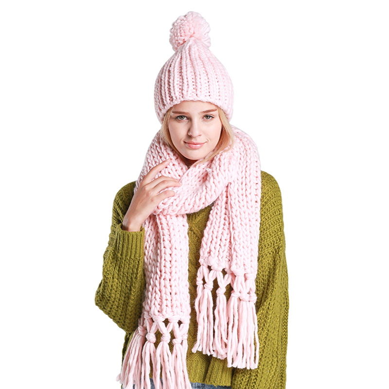 2Pces Set Thick Knit Handmade Crochet Hat Scarf Long Tassel Twist Warm Winter Scarves For Women Thick Beanie Long Female Shawls