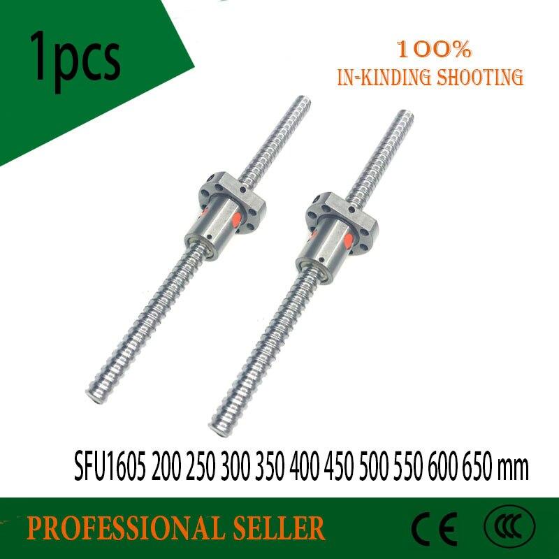 SFU1605 200 250 300 350 400 450 500 550 600 650 mm C7 ball screw with 1605 flange single ball nut BK/BF12 end machined цены