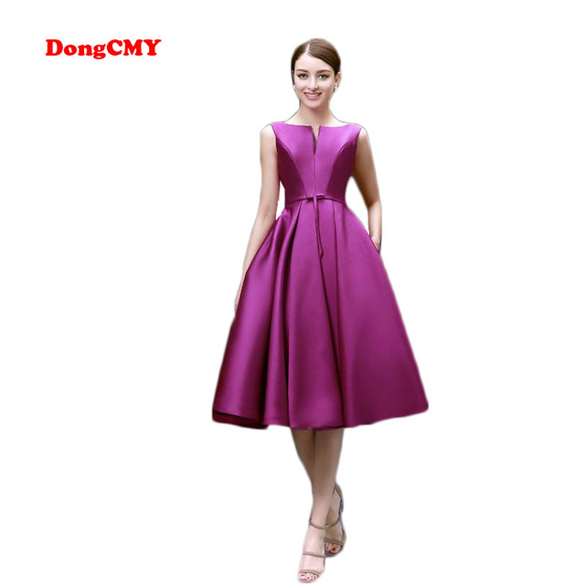 US $39.93 9% OFF|DongCMY New 2019 fashion Tea Length party dresses burgundy  plus size vestido de novia lace up prom dress-in Prom Dresses from ...