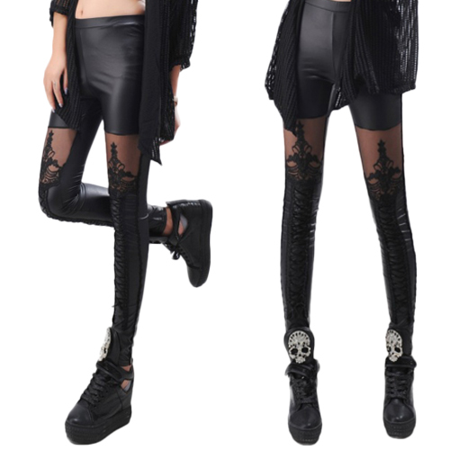 Hot Sexy Fashion Women Lace-up Faux PU Leather Lace Leggings Pants Retail/Wholesale  5AV9 7EN7