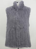 60 Dark Grey Short Knitted rabbit fur Stand up Collar vest crochet fur Cardigan vests Black vest sleeveless plus size 6xl
