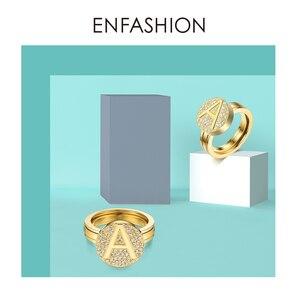 Image 5 - Enfashion מכתב ראשוני בורג טבעת עבור נשים נירוסטה זהב צבע מתכוונן Knuckle מכתב טבעות תכשיטים 188007