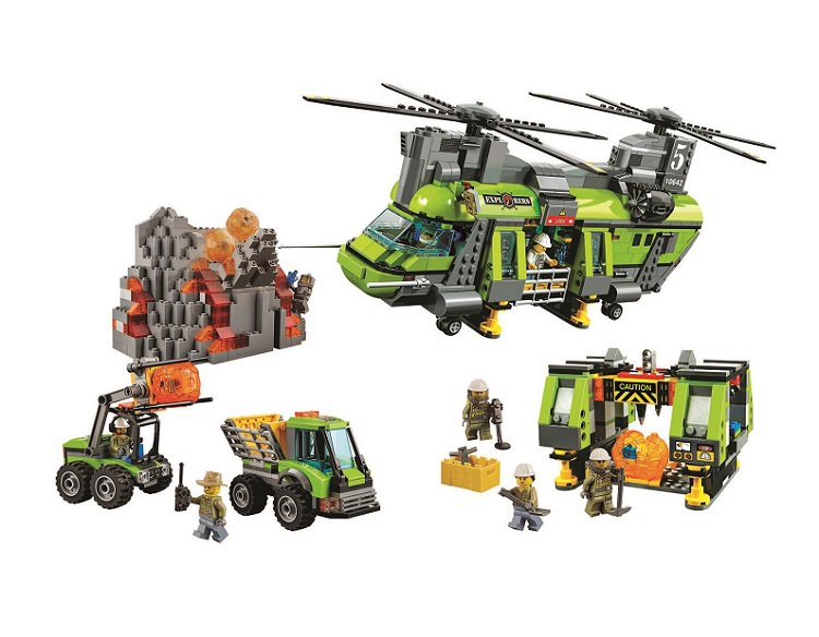 10642 Bela City Volcano Heavy-lift Helicopter Exploration Building Block model Bricks Toys Gift For Compatible lepin 60125 hot city volcano heavy lift helicopter building block transporter truck forklift expedition figures bricks 60125 toys for gifts