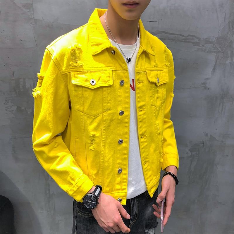 Image 5 - jaqueta masculino autumn new denim jacket men turn down collar simple loose men jacket Lovers long sleeve hole jeans jacket men