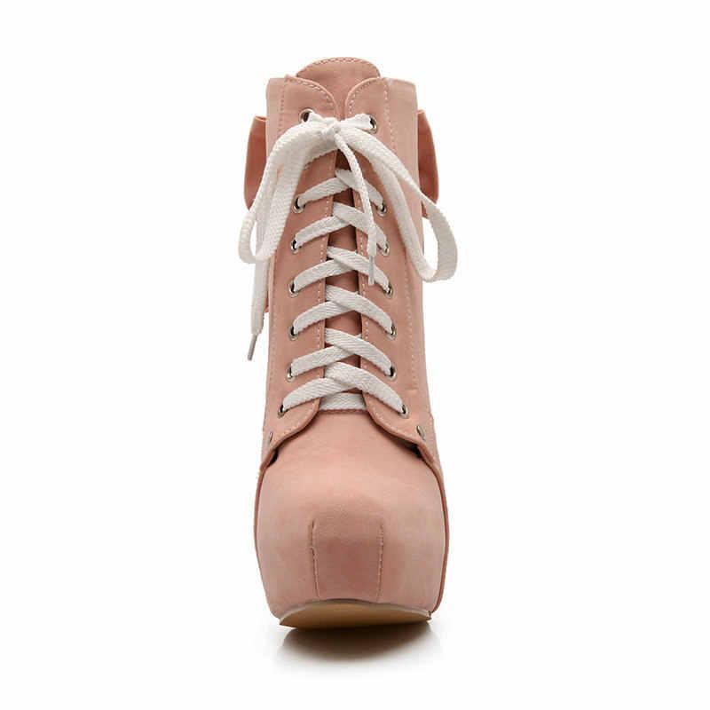 Kadın Platformu Kare Yüksek Topuk ayak bileği bağcığı Botları Moda Yay Düğüm Yuvarlak Ayak Elbise Botları Kısa Peluş Kışlık Botlar Kırmızı Pembe